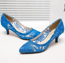 Blue See Through Lace Wedding Heels,RoyalBlue Lace Low Heels Bridal shoes image 2