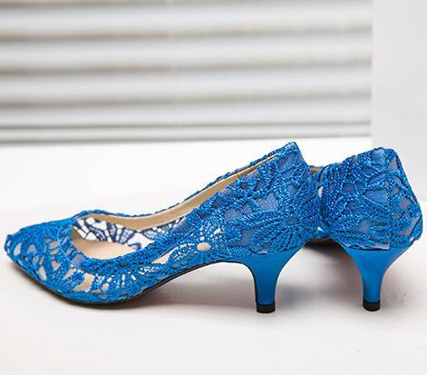Blue See Through Lace Wedding Heels,RoyalBlue Lace Low Heels Bridal shoes image 3