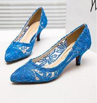 See Through Lace Wedding Low Heels,Royal Blue Lace Low Heels Bridal Dress shoes - $48.00