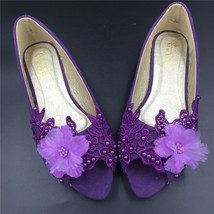 Purple Low Heels wedding shoes,Purple Peep Toe Bridal flats shoes,bridal Shoes - $38.00