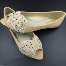 Metallic color flats wedding shoes,Beige Peep Toe Bridal shoes,bridesmai... - $38.00
