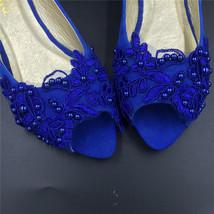 Blue Low Heels wedding shoes,Royalblue Peep Toe Bridal flat shoes,bridesmaid gif image 2
