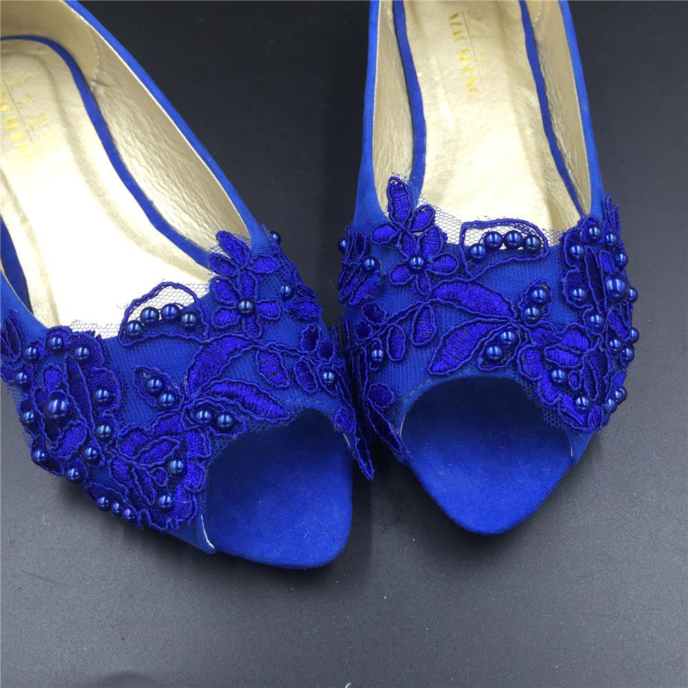 Blue Low Heels wedding shoes,Royalblue Peep Toe Bridal flat shoes,bridesmaid gif image 3