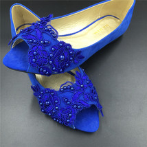 Blue Low Heels wedding shoes,Royalblue Peep Toe Bridal flat shoes,brides... - $38.00