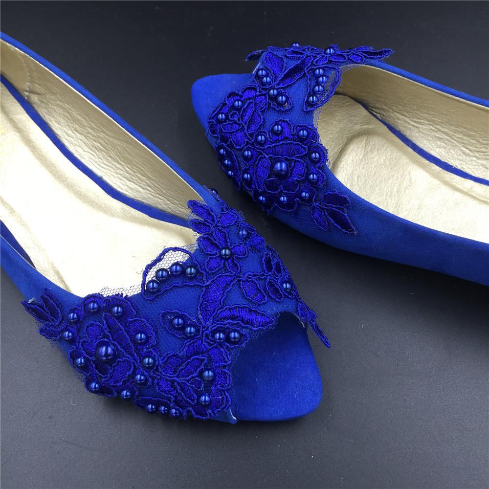 Blue Low Heels wedding shoes,Royalblue Peep Toe Bridal flat shoes,bridesmaid gif image 4