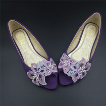 Purple Low Heels wedding shoes,Purple Peep Toe Bridal flats shoes,brides... - $38.00