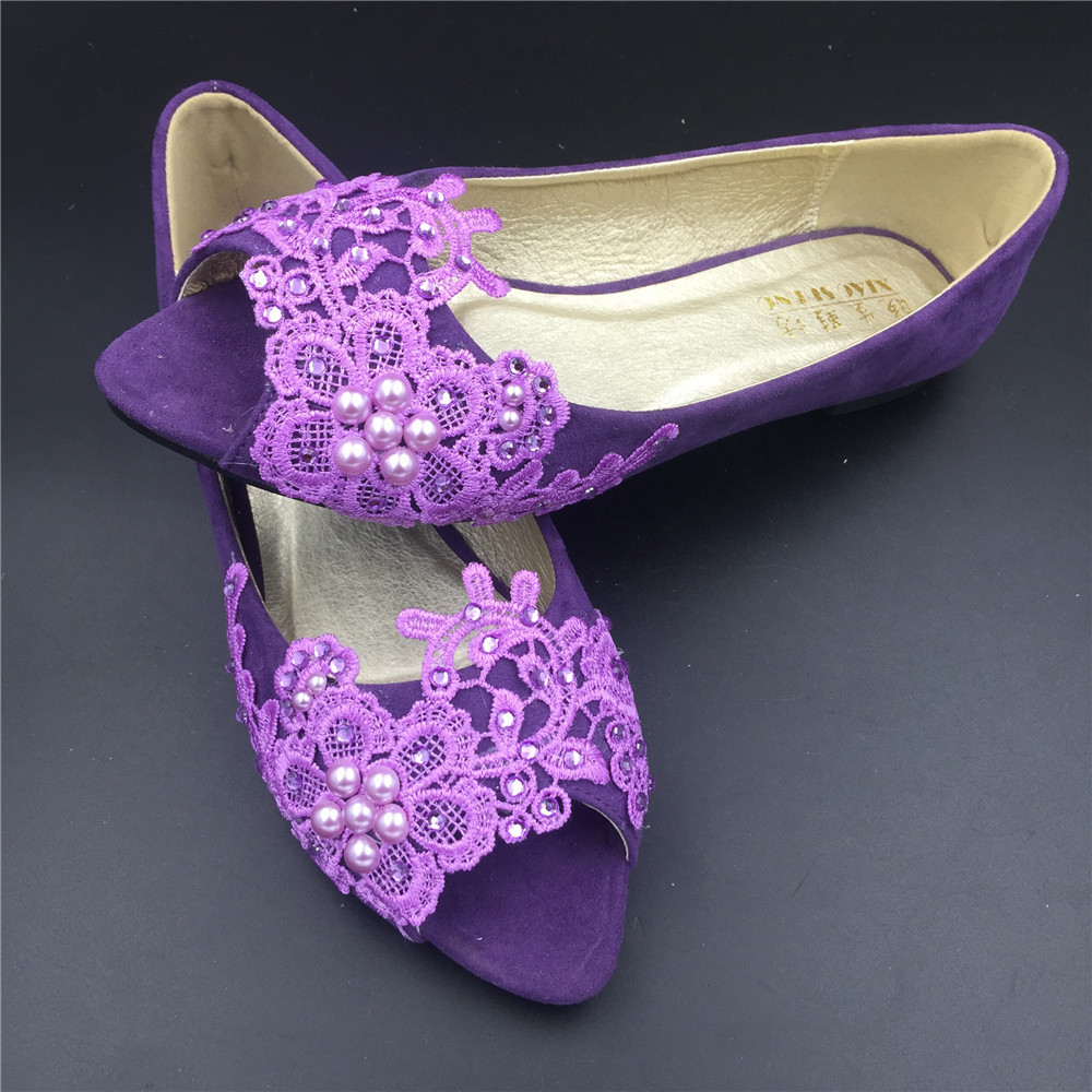 Purple Low Heels wedding shoes,Purple Peep Toe Bridal flats shoes,bridesmaid gif - $38.00
