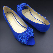 Blue Low Heels wedding shoes,Blue Peep Toe Bridal flats shoes,bridesmaid... - £29.53 GBP