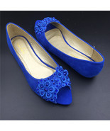 Blue Low Heels wedding shoes,Blue Peep Toe Bridal flats shoes,bridesmaid... - $38.00