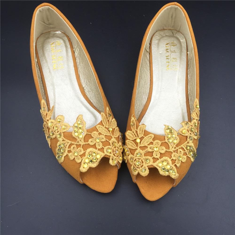 Gold Bridal Shoes,Golden Peep Toe Bridal flats shoes,champagne bridesmaid Flats  image 3