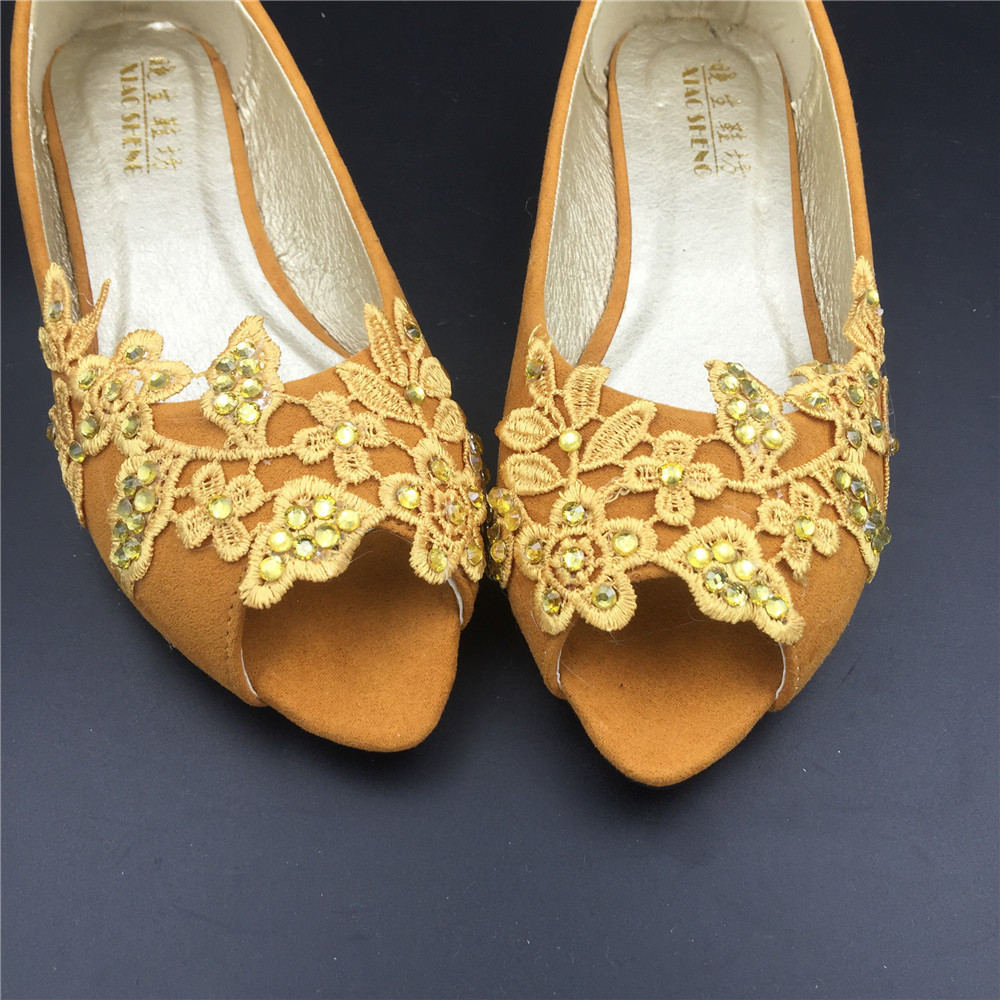 Gold Bridal Shoes,Golden Peep Toe Bridal flats shoes,champagne bridesmaid Flats  image 2