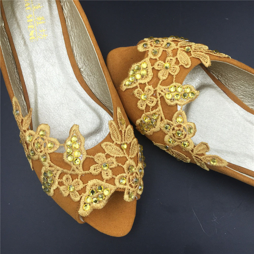 Gold Bridal Shoes,Golden Peep Toe Bridal flats shoes,champagne bridesmaid Flats  image 4