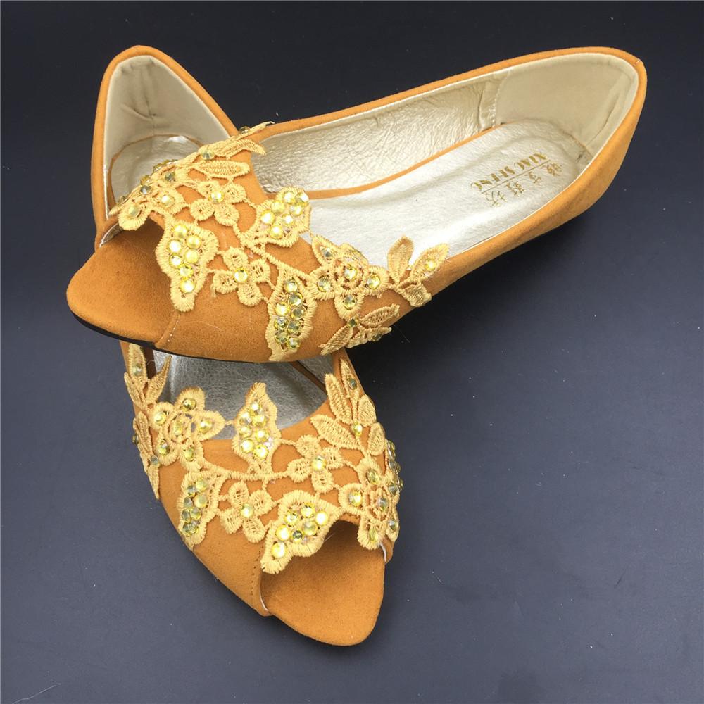 Gold Bridal Shoes,Golden Peep Toe Bridal flats shoes,champagne bridesmaid Flats