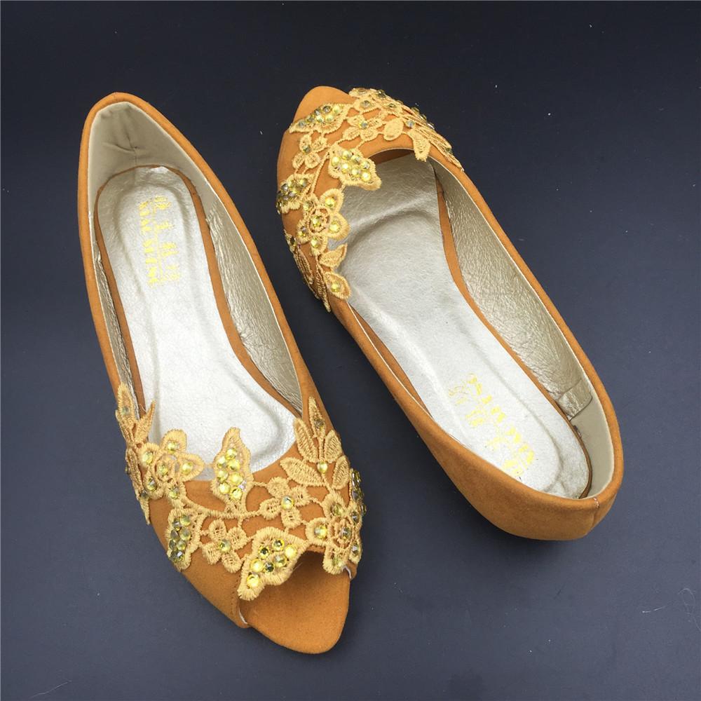 Gold Bridal Shoes,Golden Peep Toe Bridal flats shoes,champagne bridesmaid Flats  image 5