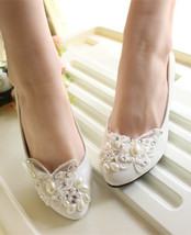Ivory White Butterfly Bridal Ballet Flats /Spring Time Wedding Flats Shoes - $38.00