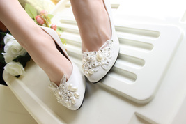 Ivory White Butterfly Bridal Ballet Flats /Spring Time Wedding Flats Shoes image 4