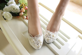 Ivory White Butterfly Bridal Ballet Flats /Spring Time Wedding Flats Shoes image 5