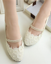 Ivory White Pearl Strips Bridal Ballet Flats /Spring Time Wedding Flats ... - $38.00