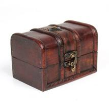 Small Size Vintage Wood Lock Jewelry Storage Box Necklace Treasure Organizer