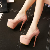 pp273 Stunning supper high heel pump in candy color, US Size 4-8.5, apricot - $48.80