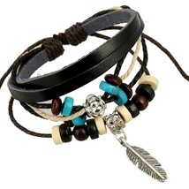 Yosinacos Fashion Adjustable Unisex Genuine Real Leather Bracelet With L... - $12.68