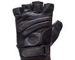 Black Leather and Mesh Motorcycle Fingerless Gloves