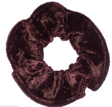 Dark Brown Panne Velvet Hair Scrunchie Scrunchies by Sherry Ponytail Holder Tie - $6.99