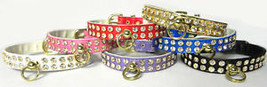 Rhinestone Dog Collar 2 rows Clear Crystal 8 colors Pet Collars crystals - $14.99
