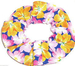 Floral Hair Scrunchie Blue Pink Gold  Scrunchies by Sherry Flowers - €6,46 EUR