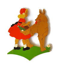 Vintage 50s Red Riding Hood Nursery Plaque Wall... - $42.95