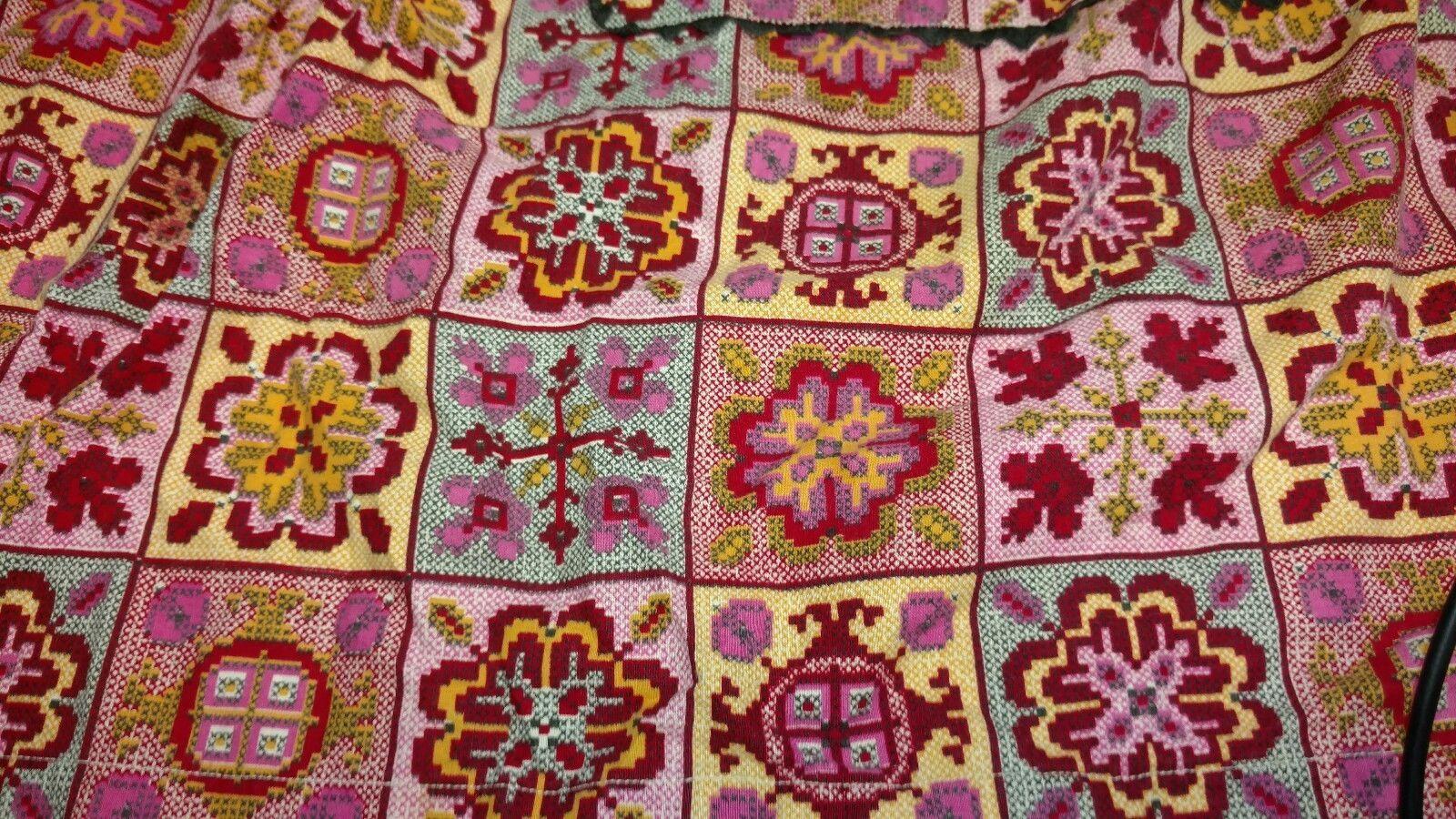 Gorgeous Vintage Apron Beautiful Bold Bright Colors Handmade - $7.69