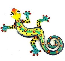 "Handmade Metal Gecko Lizard Wall Art Sculpture Decor, Haiti 8"" Jazz Hand... - $11.30"