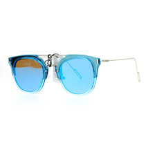 Womens Designer Fashion Sunglasses Flat Top Bar Flat Mirror Lens Frame - $12.95