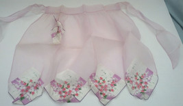 vintage handmade organdy with handkerchief bottom half apron - $12.87