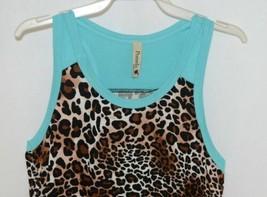 Pomelo Girls Tunic Aqua Brown White Black Leopard Print Size Bedium image 2