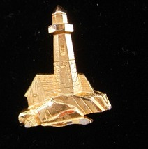 lighthouse tie tack / gold nautical gift / Vintage sailor gift / nautical Lapel  - $75.00