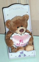 GUND Thinking of You Plush Bear Holds Love You #1 Mom Pink Heart NIB - $10.49