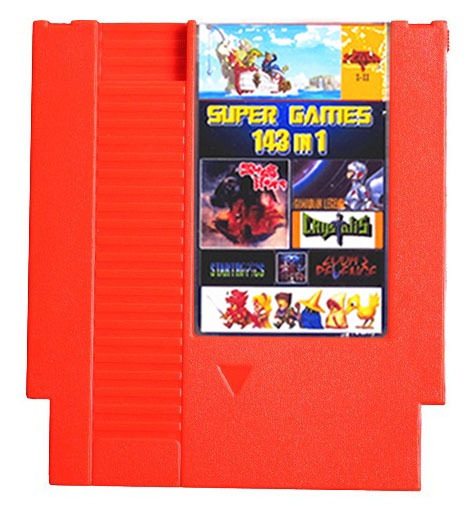 Nintendo NES Multi Cart THE 100 BEST VIDEO GAME 143 in 1 Battery Save Color Case