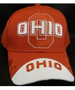 Ohio Men's Curved Brim Adjustable Baseball Cap with Raised Lettering RED - $9.95