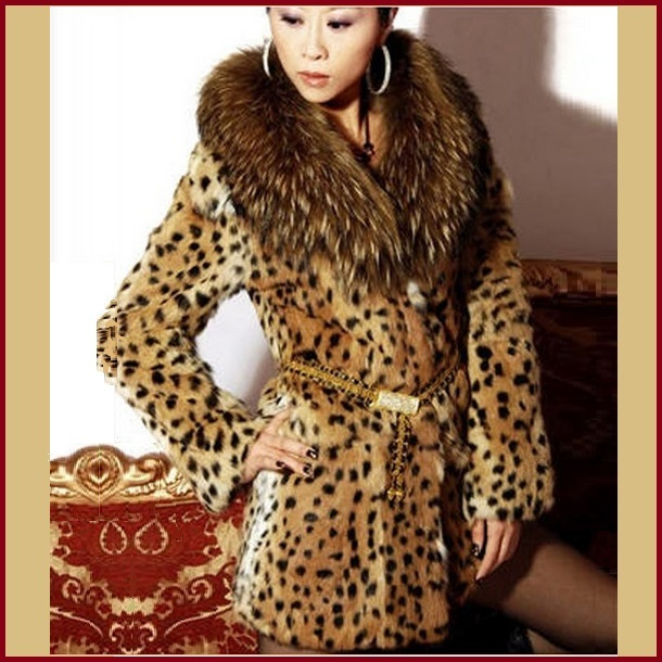 Thick Raccoon Fur Collar Leopard Print Medium Length Faux Fur Coat Jacket