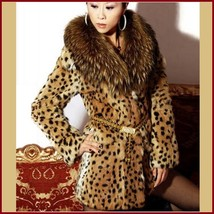 Thick Raccoon Fur Collar Leopard Print Medium Length Faux Fur Coat Jacket image 1