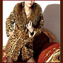 Thick Raccoon Fur Collar Leopard Print Medium Length Faux Fur Coat Jacket image 2