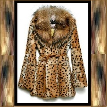 Thick Raccoon Fur Collar Leopard Print Medium Length Faux Fur Coat Jacket image 4