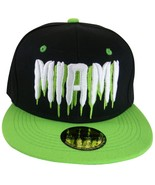 Miami Men's Molten Script Adjustable Snapback Baseball Cap Black/Green - $9.95