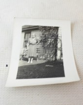 vintage photo woman by the house black and whit... - $10.00