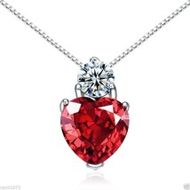 Explosion Model Genuine S925 Silver Necklace+Red Crystal Pendant Women Girl Gift - $49.45
