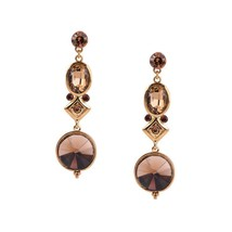 Fashion Elegant Women Girl New Jewelry Alloy Round Gold Crystal Long Earrings - $14.84