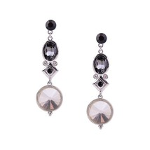 Fashion Elegant Women Girl New Jewelry Alloy Round Black Crystal Long Earrings - $14.84