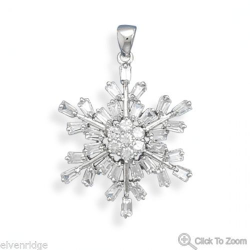 Rhodium Plated CZ Snowflake Pendant Sterling Silver
