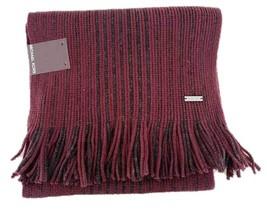 MICHAEL KORS Marl Stripe FRINGED Acrylic BURGUNDY / BORDEAUX Scarf Free ... - $95.55